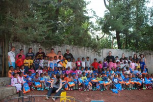 The sponsored KG kids on their new playground